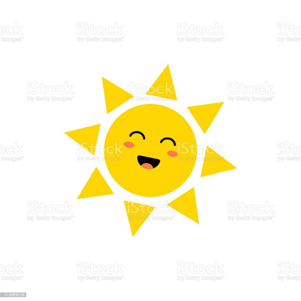 Sun Vector Icon Cute Yellow Sun With Happy Face Emoji Summer