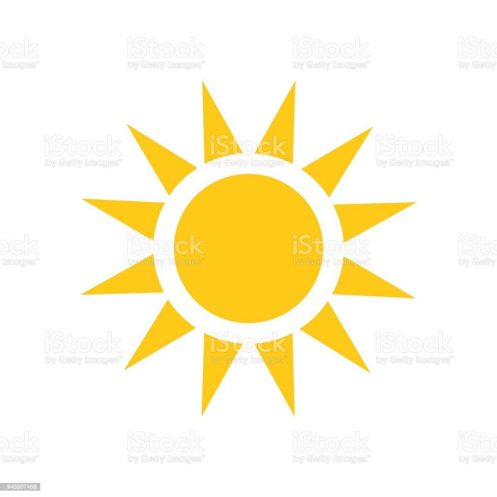 Ícone de vetor do sol. Ilustração do sol de verão em branco isolado fundo. Conceito de luz do sol. - Vetor de Amarelo royalty-free