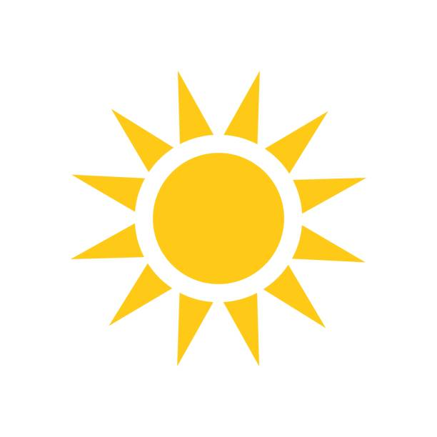sun vector icon. summer sunshine illustration on white isolated background. sun sunlight concept. - sunburst stock illustrations, clip art, cartoons, & icons
