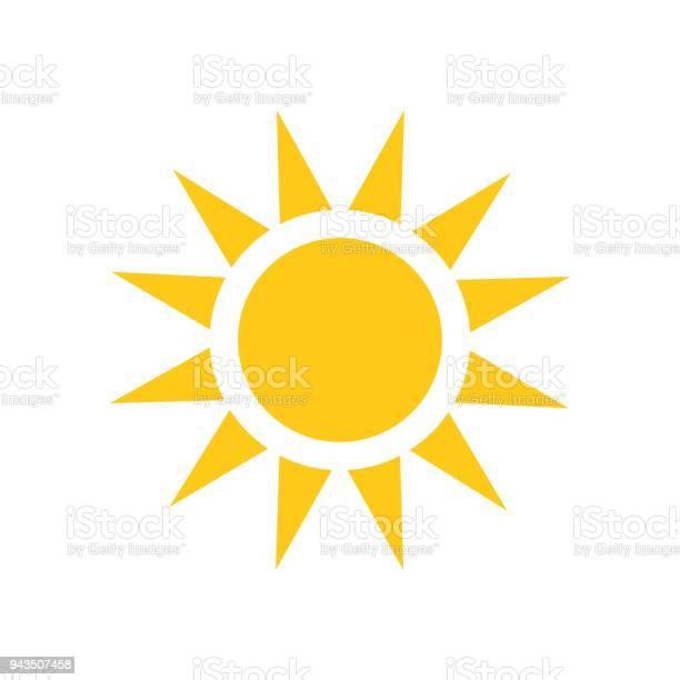Vetores de Ícone De Vetor Do Sol Ilustração Do Sol De Verão Em Branco Isolado Fundo Conceito De Luz Do Sol e mais imagens de Amarelo