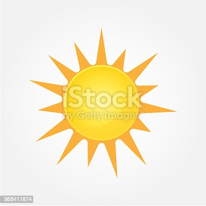 Sun Vector isolated summer icon design. Vector yellow sun symbol. Vector sun sun element. Sun weather icon vector sun logo isolated sign symbol