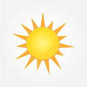 Sun Vector isolated summer icon design. Vector yellow sun symbol. Vector sun sun element. Sun weather icon vector sun logo isolated sign symbol