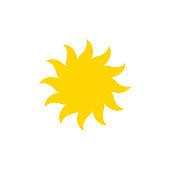 Sun - vector icon. Yellow shining sun - flat vector illustration