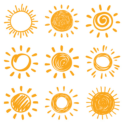 Sun, vector design elements. Hand drawn doodle icons set on a white background.