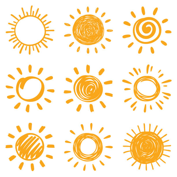 Sun Sun, vector design elements. Hand drawn doodle icons set on a white background. summer sun stock illustrations