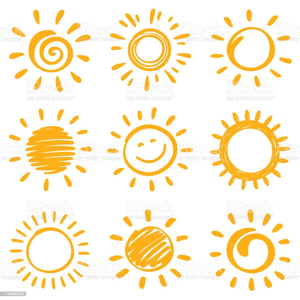 Sun Sun, vector design elements. Hand drawn doodle icons set on a white background. Anthropomorphic Smiley Face stock vector