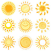Sun, vector design elements. Hand drawn icon set on a white background.
