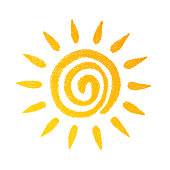 Sun, vector design element. Hand drawn image on a white background.