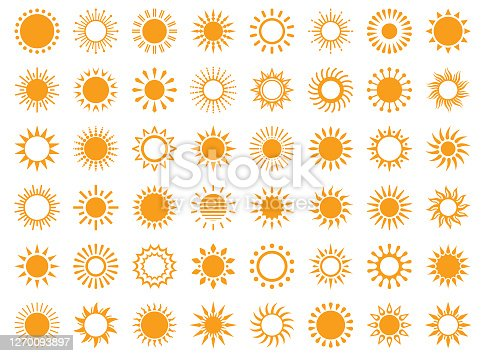 Set of sun icons on a white background