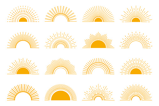 Sunrise and sunset icon set. Vector design elements on a white background.