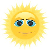 Sun with big blue eyes.