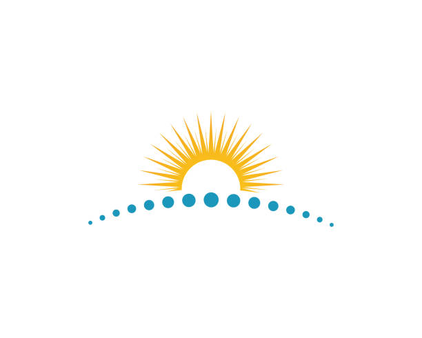 ikona ilustracji wektora słońca - horyzont stock illustrations