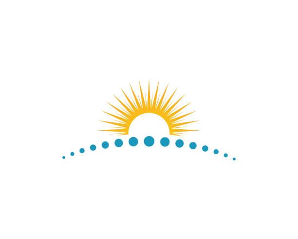 bildbanksillustrationer, clip art samt tecknat material och ikoner med solen vektor illustration ikonen - horisont