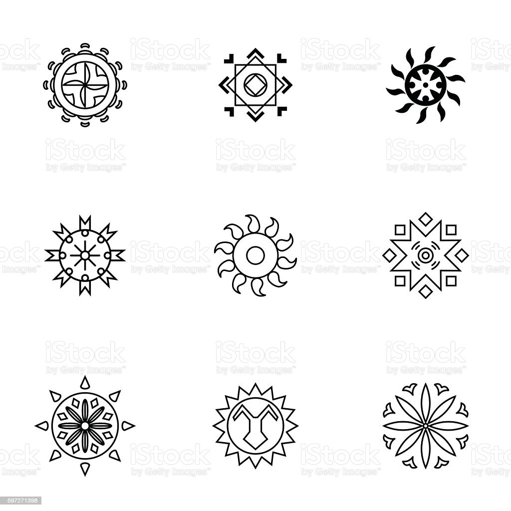 Sun vector set royalty-free sun vector set stock vector art & more images of abstract