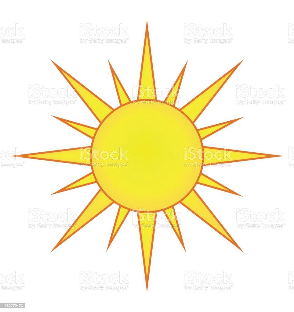 Sonne-Vektor-Symbol-Icon-Design. Schöne Illustration isoliert auf weißem Hintergrund Lizenzfreies sonnevektorsymbolicondesign schöne illustration isoliert auf weißem hintergrund stock vektor art und mehr bilder von blendenfleck