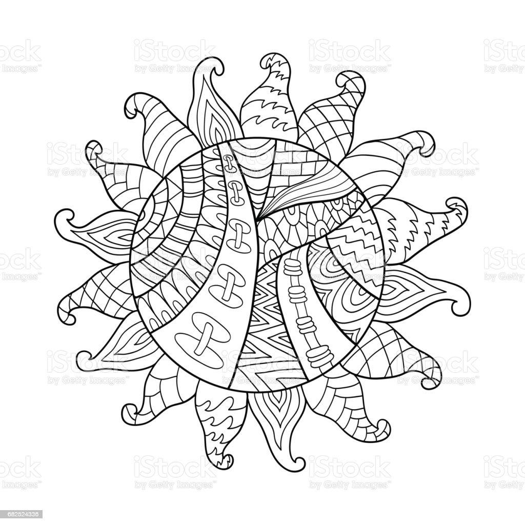 Sun vector symbol. Sun tribal doodle ornament.