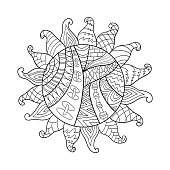 Sun vector symbol. Sun tribal doodle ornament.