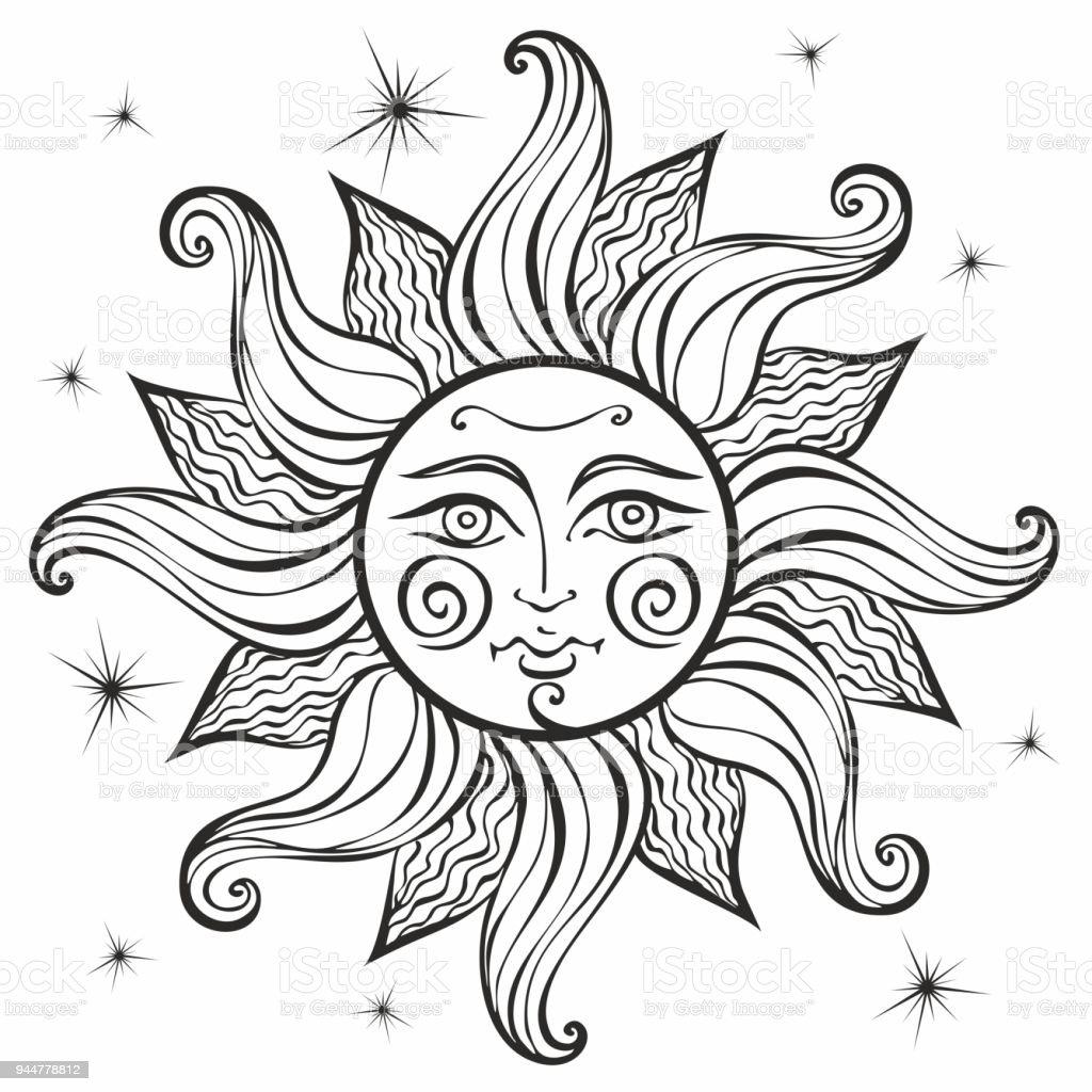 Güneş Vintage Tarzı Astroloji Etnik Pagan Boho Tarzı Boyama Vektör