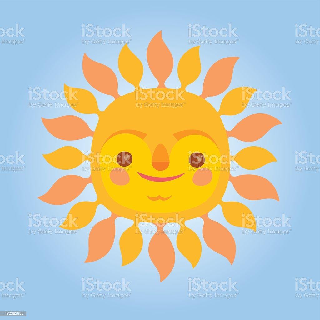 Sun with a face vector art illustration