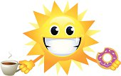 Sun having breakfast. Professional clip art for your print project or Web site.