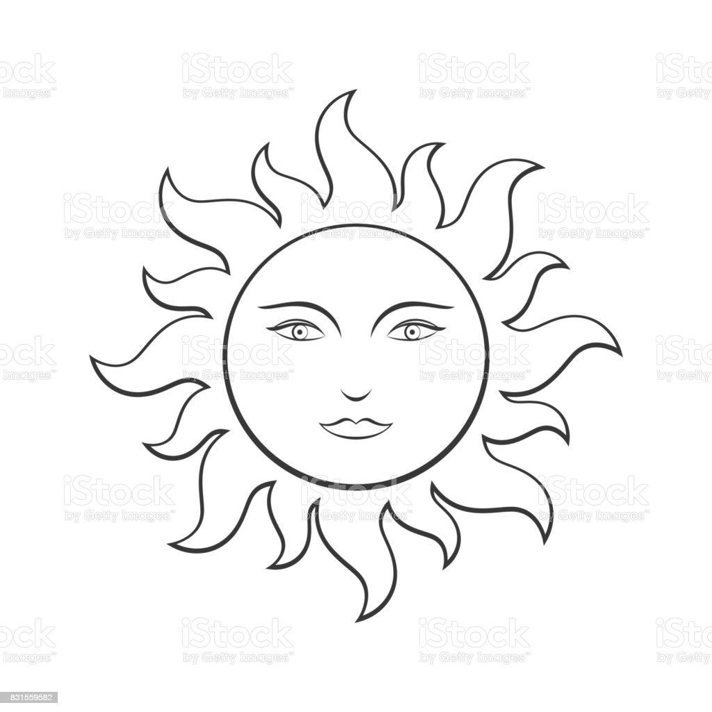顔太陽線ぬりえイラスト お絵かきのベクターアート素材や画像を多数ご