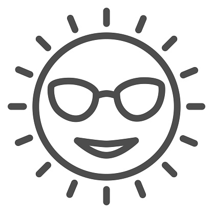 Sun with glasses line icon, Sea cruise concept, smiling sunny face sign on white background, cute sun in glasses icon in outline style for mobile concept and web design. Vector graphics.