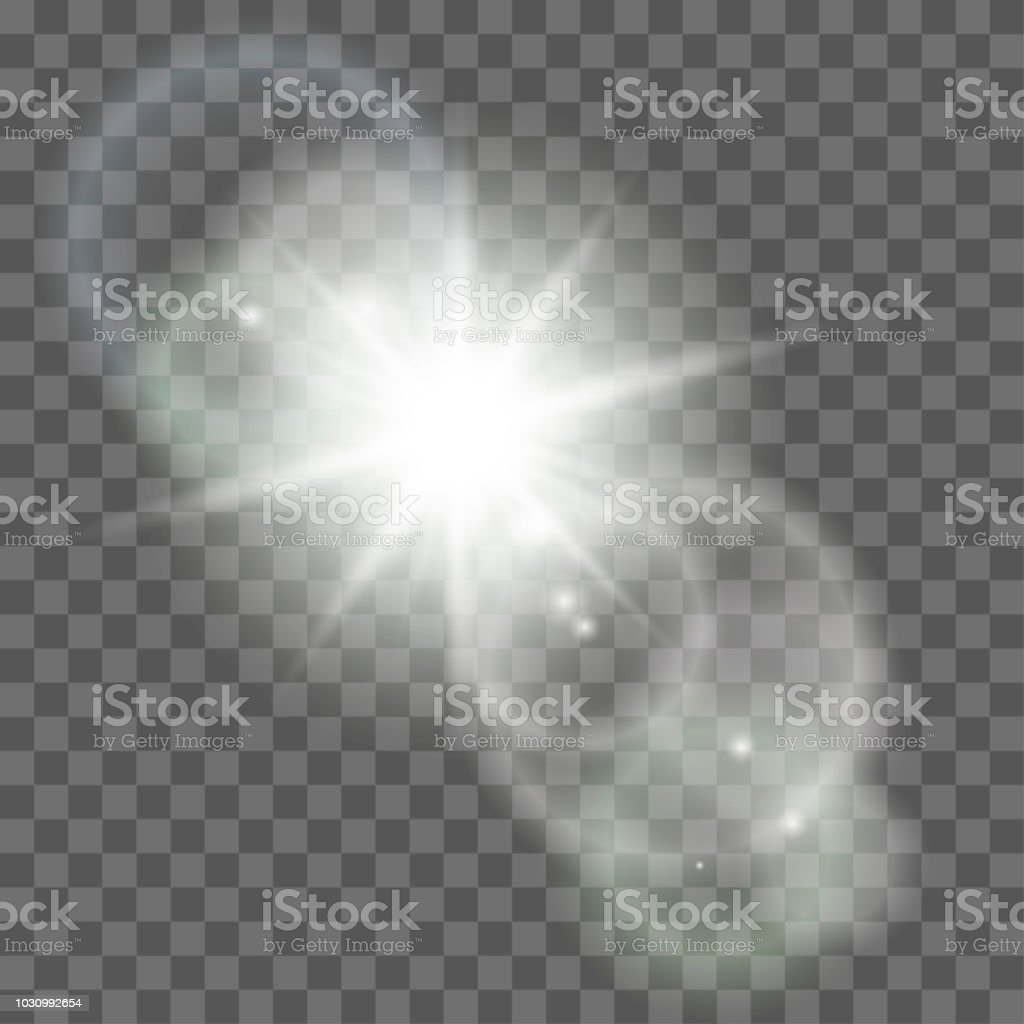 Sun with lens flare on plaid background