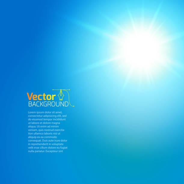 illustrazioni stock, clip art, cartoni animati e icone di tendenza di sole con bagliore dell'obiettivo, sfondo vettoriale. - flare