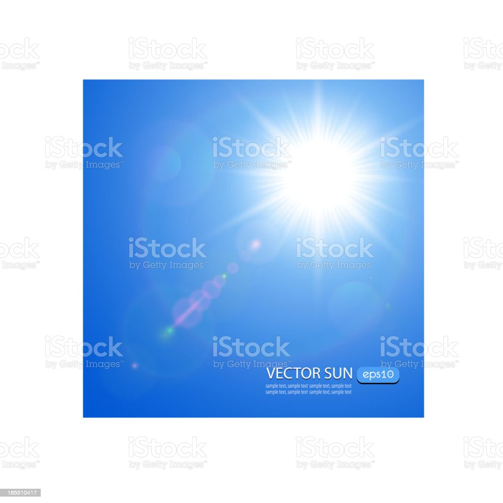 Sun with lens flare royalty-free stock vector art