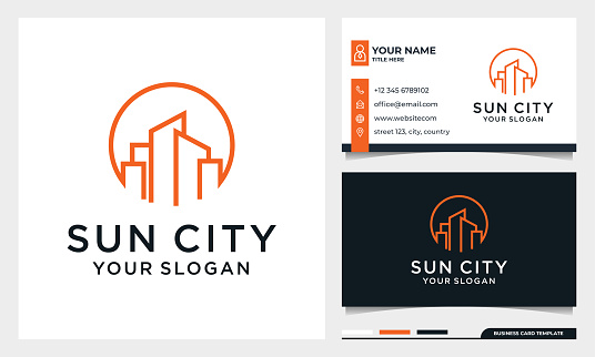 Sun with line art Building Logo Design, Moon City, Real estate, architecture Vector with business card template