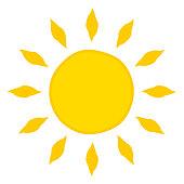 Sun with sunbeams vector sketch icon