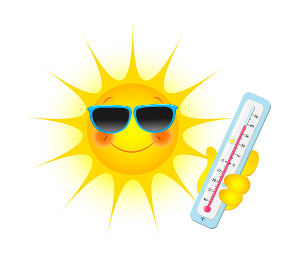 Sun with sunglasses and thermometer in hand, Vector illustration isolated on white background Sun with sunglasses and thermometer in hand, Vector illustration isolated on white background heat wave stock illustrations