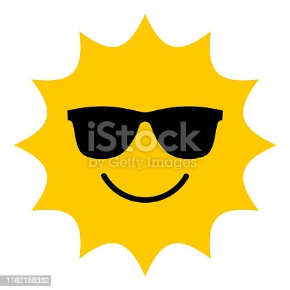 istock Sun with sunglasses smiling icon 1162188332