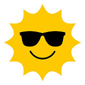 Sun with sunglasses smiling icon