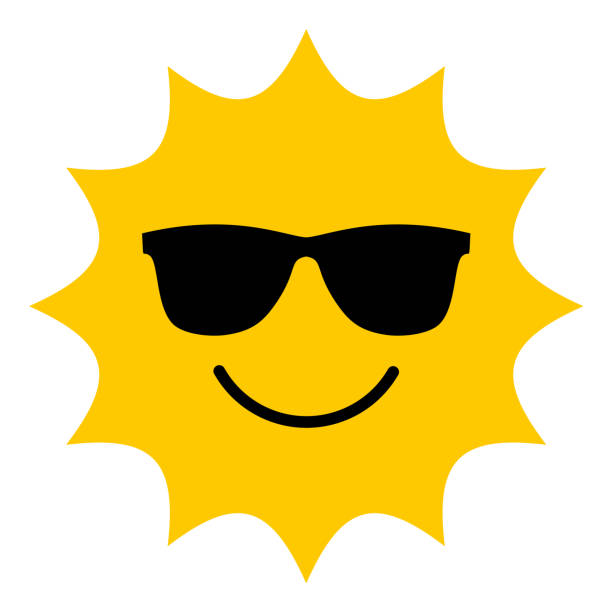 bildbanksillustrationer, clip art samt tecknat material och ikoner med sol med solglasögon leende ikon - sun