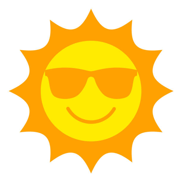 Sun with sunglasses smiling icon vector art illustration