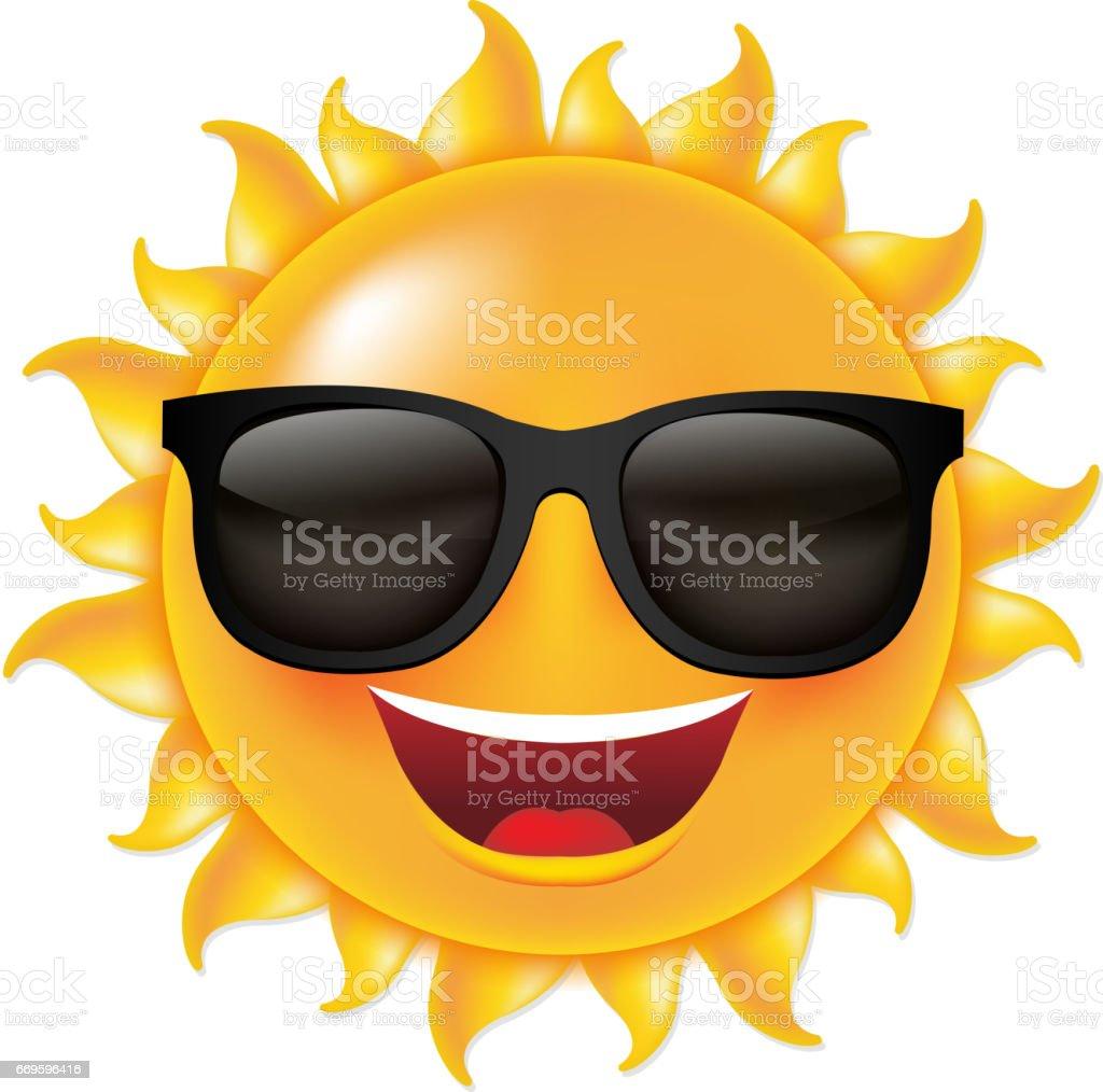Sun With Sunglasses vector art illustration