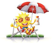 Sun with suntan lotion relaxing on a beach chair. High Resolution JPG,CS5 AI and Illustrator EPS 10 included. Each element is named,grouped and layered separately.