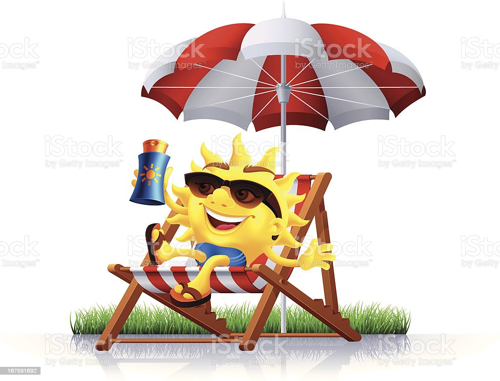 Sun With Suntan Lotion Stock Vector Art More Images Of Parasol Royalty Free Amp