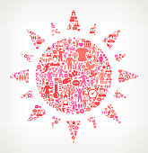 Sun  Women's Rights and Girl Power Icon Pattern. The outlines of the main shape are filled with various women's rights and girl power icons. The icons vary in size and in the shade of the pink color. They form a seamless pattern and work in unison to complete this composition. The individual icons include classic girl power imagery of women in various aspects of life and promote social equality and achievement.