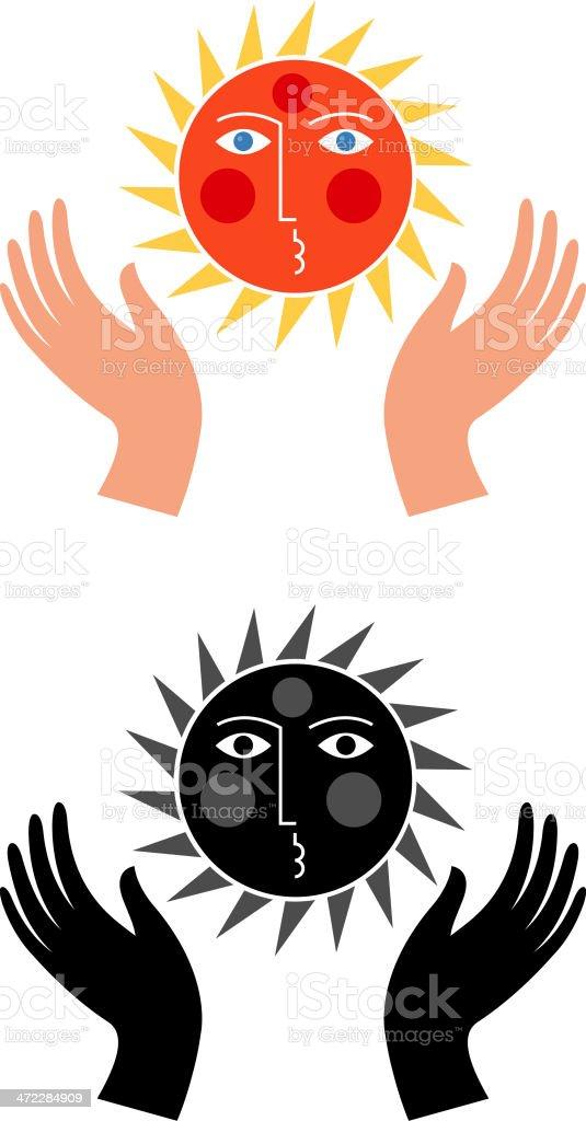Sun worship vector art illustration
