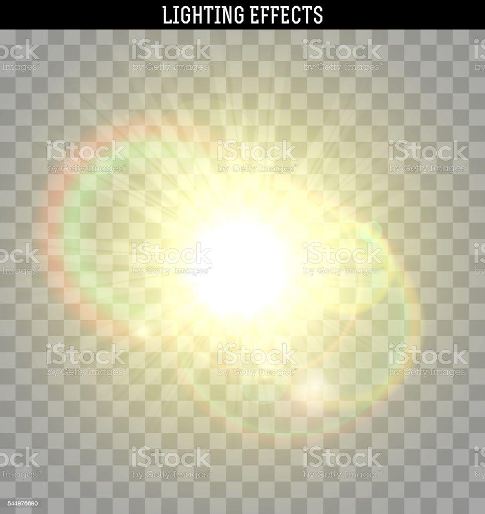 Sun yellow glare light effect. vector art illustration