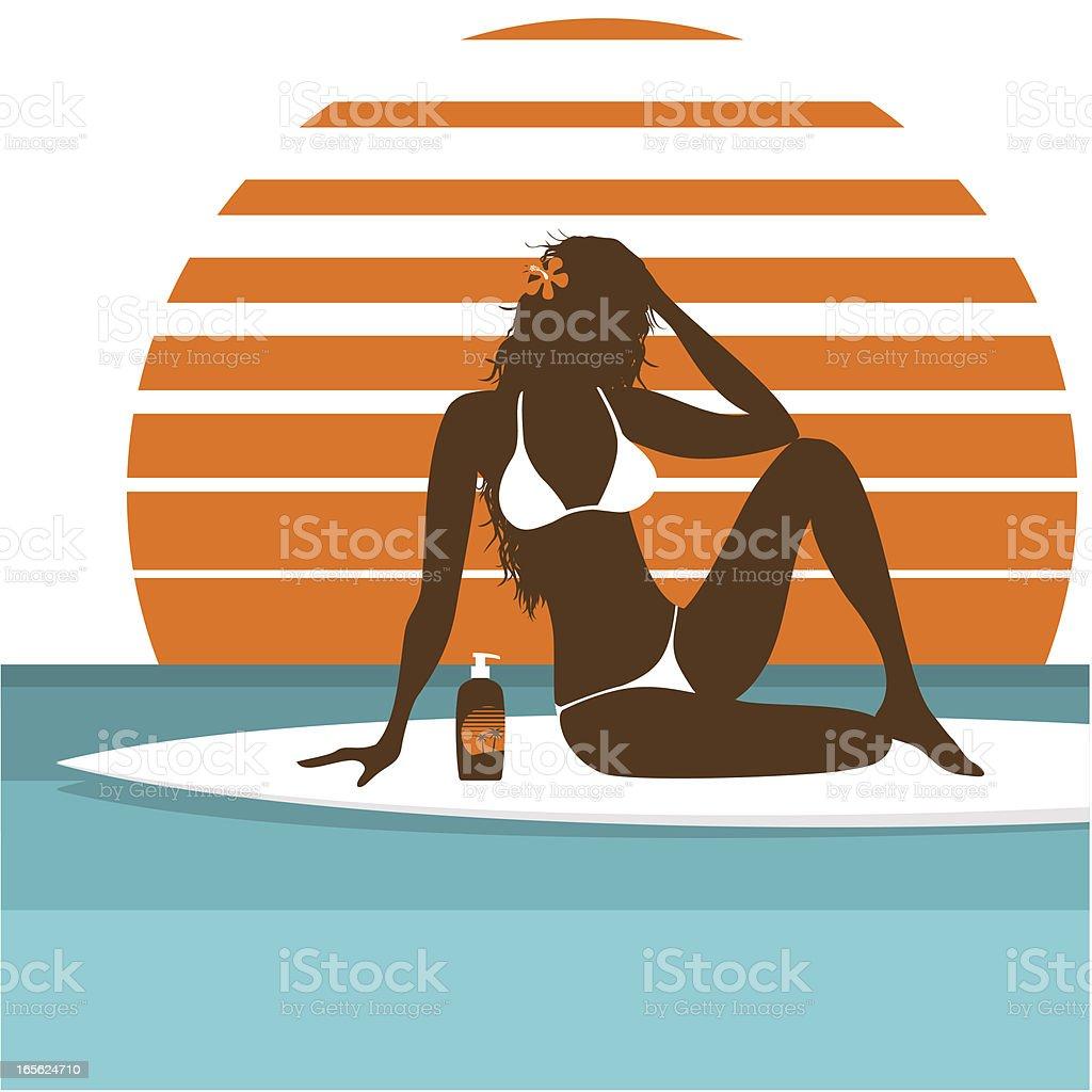 sunbath vector art illustration
