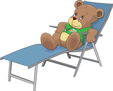 Sunbathing bear, relax, vacation