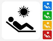 Sunbathing Icon Flat Graphic Design