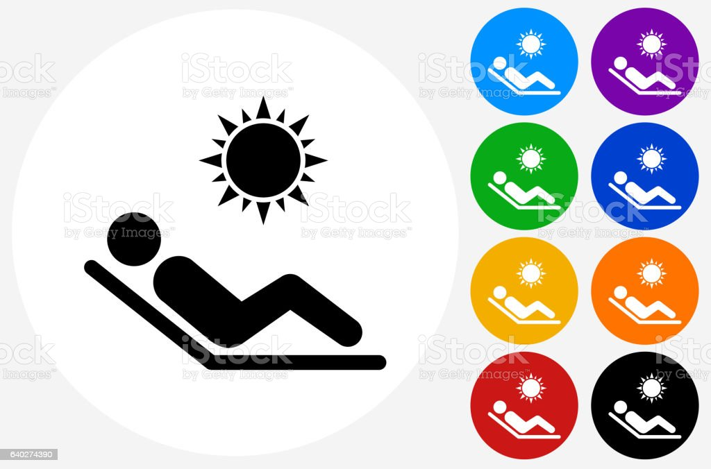 Sunbathing Icon on Flat Color Circle Buttons vector art illustration