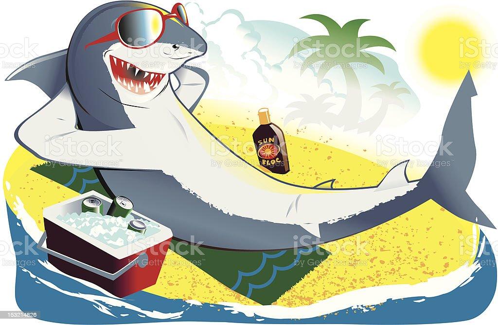 Sunbathing Shark vector art illustration