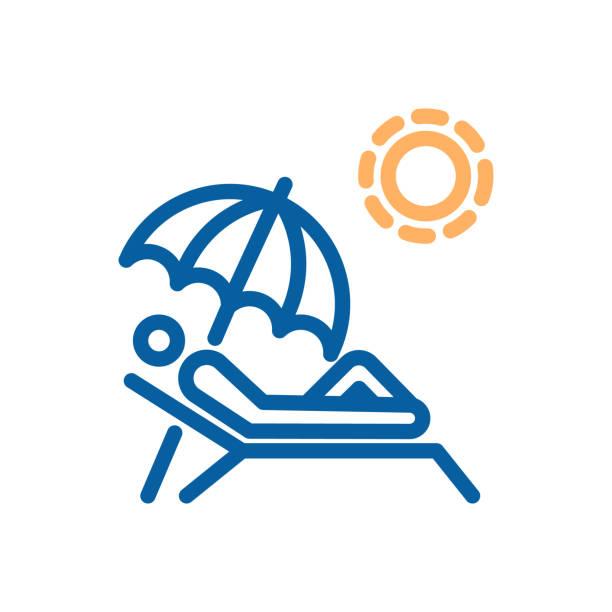 sonnenbaden, dünne liniensymbol. person handauflegen strandkorb unter ein dach bekommen greifen mit der sonne am strand, pool, gegerbt. illustration für sommer, reisen, urlaub - sonnenstuhl stock-grafiken, -clipart, -cartoons und -symbole