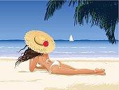 Beautiful girl sunbathing.
