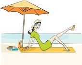 A girl sunbathing on the beach.